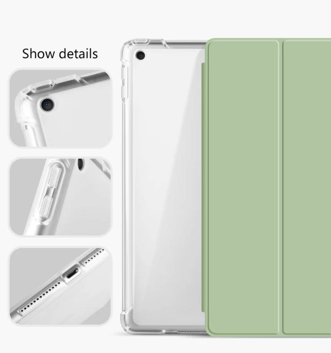 "Funda iPad 10,2"" (7ma y 8va generación) - Ranura Apple Pencil y Parte Trasera Transparente"