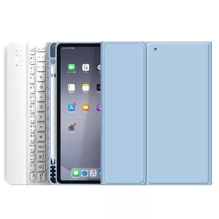 "Funda + Teclado iPad 10,9"" (Air 4) - Ranura Apple Pencil (Color: Celeste)"