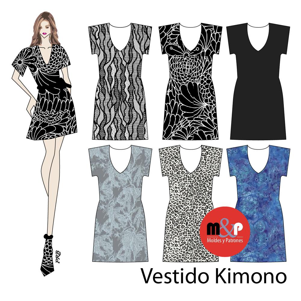 3 Tallas Vestido Kimono