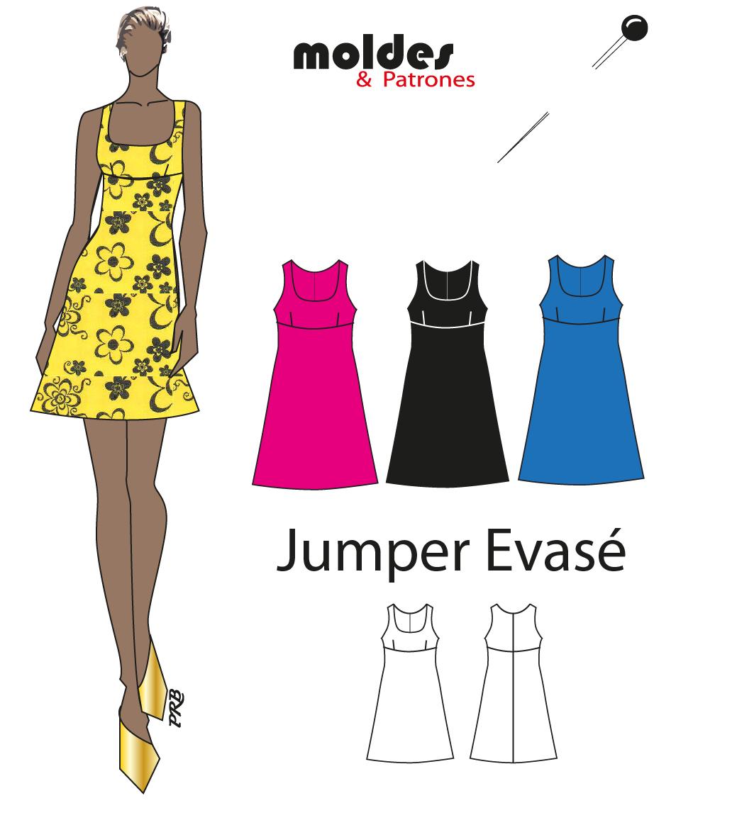 3 Tallas S M L Mini Vestido (jumper evasé)