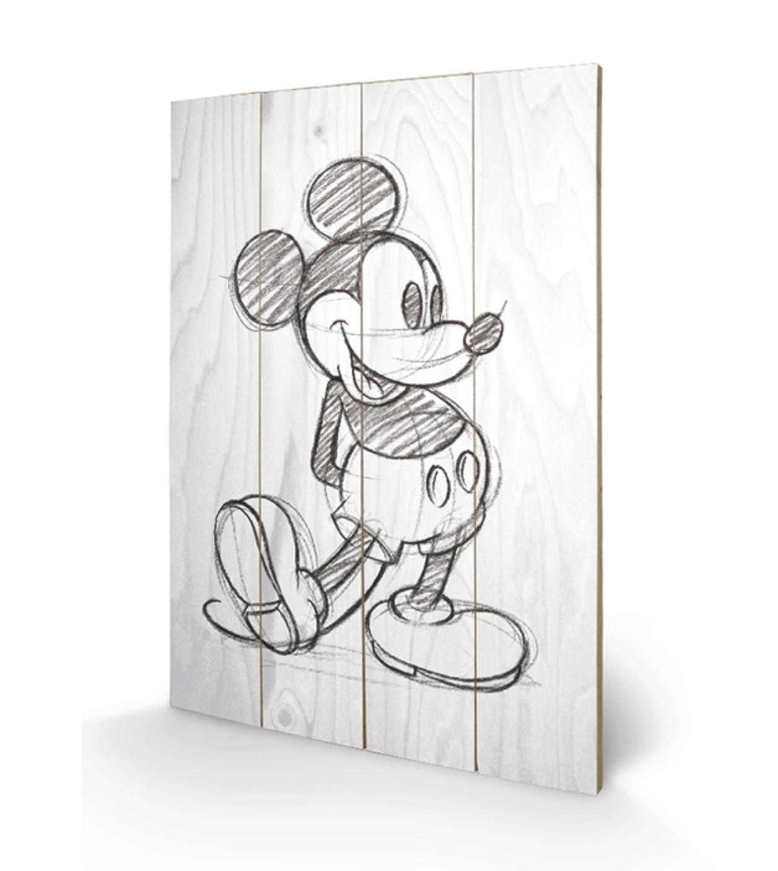 Quadro em Madeira Mickey Mouse Sketched