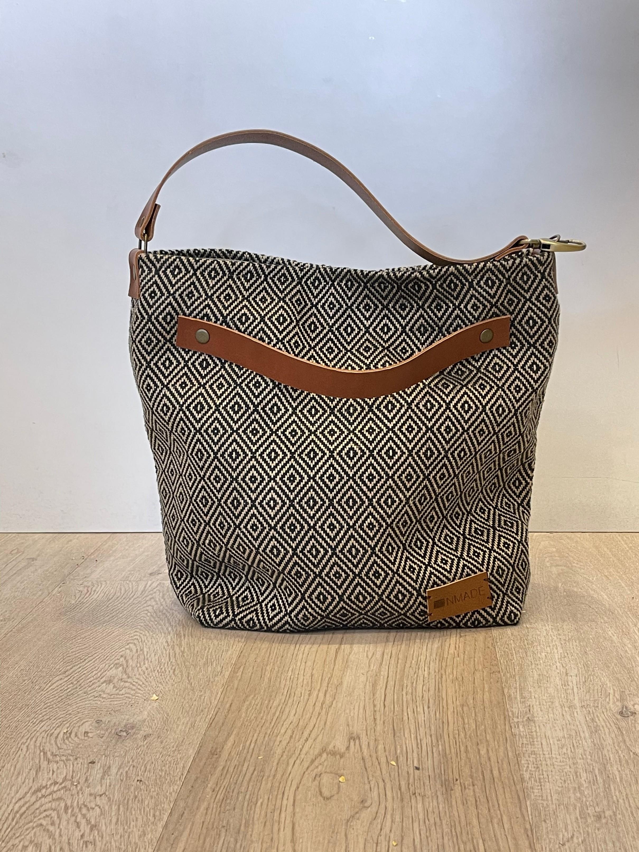 Handbag Linen Blue Diamond