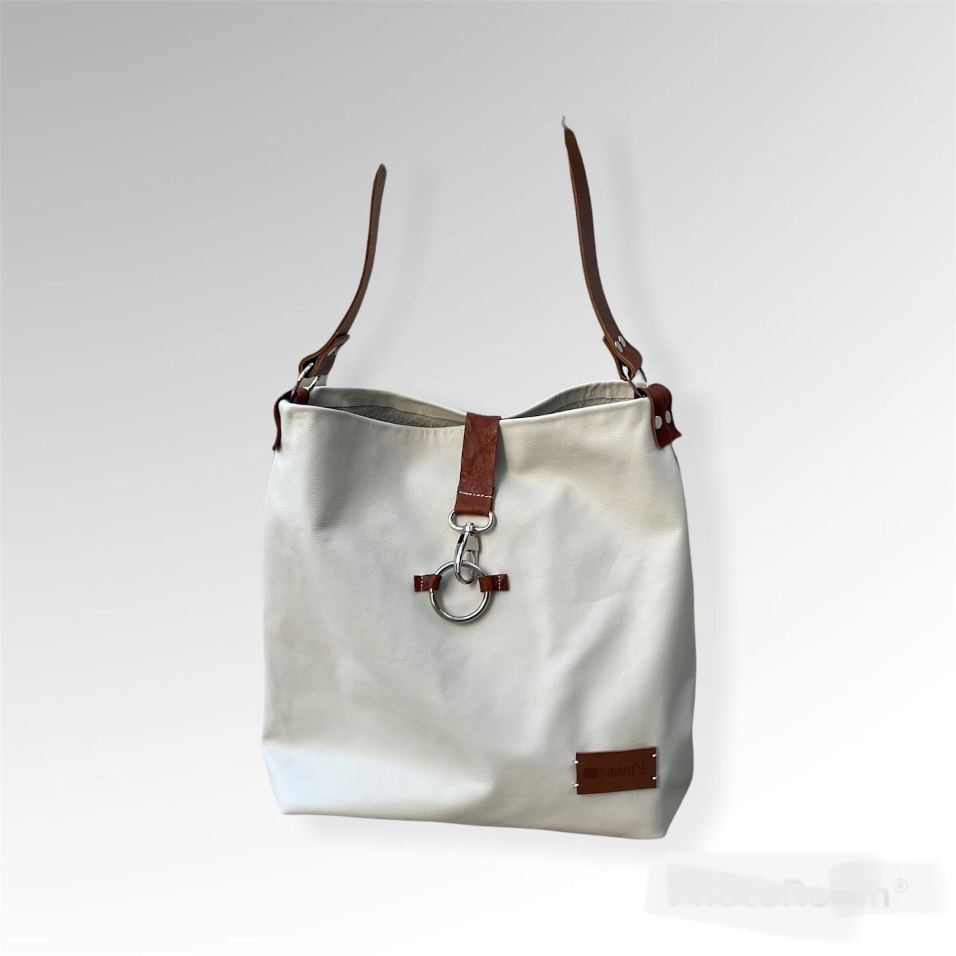 Shoulder Bag White Leather