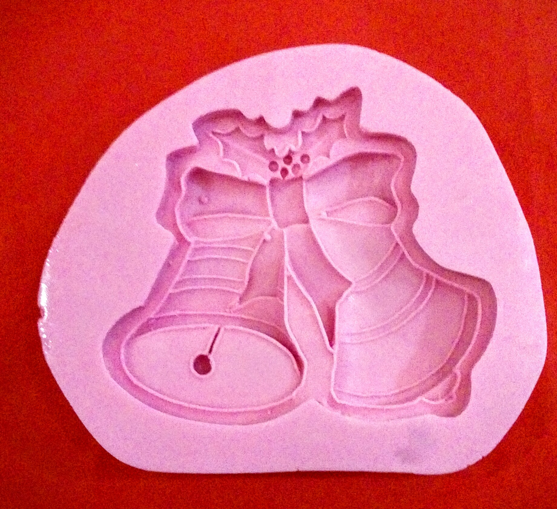 Molde de silicón campana de navidad x 2