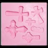 Molde de silicón cruces surtidas x 5 y mini virgencitas
