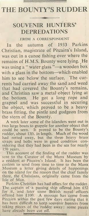 The Bounty's Rudder, Souvenir Hunters' Depredations