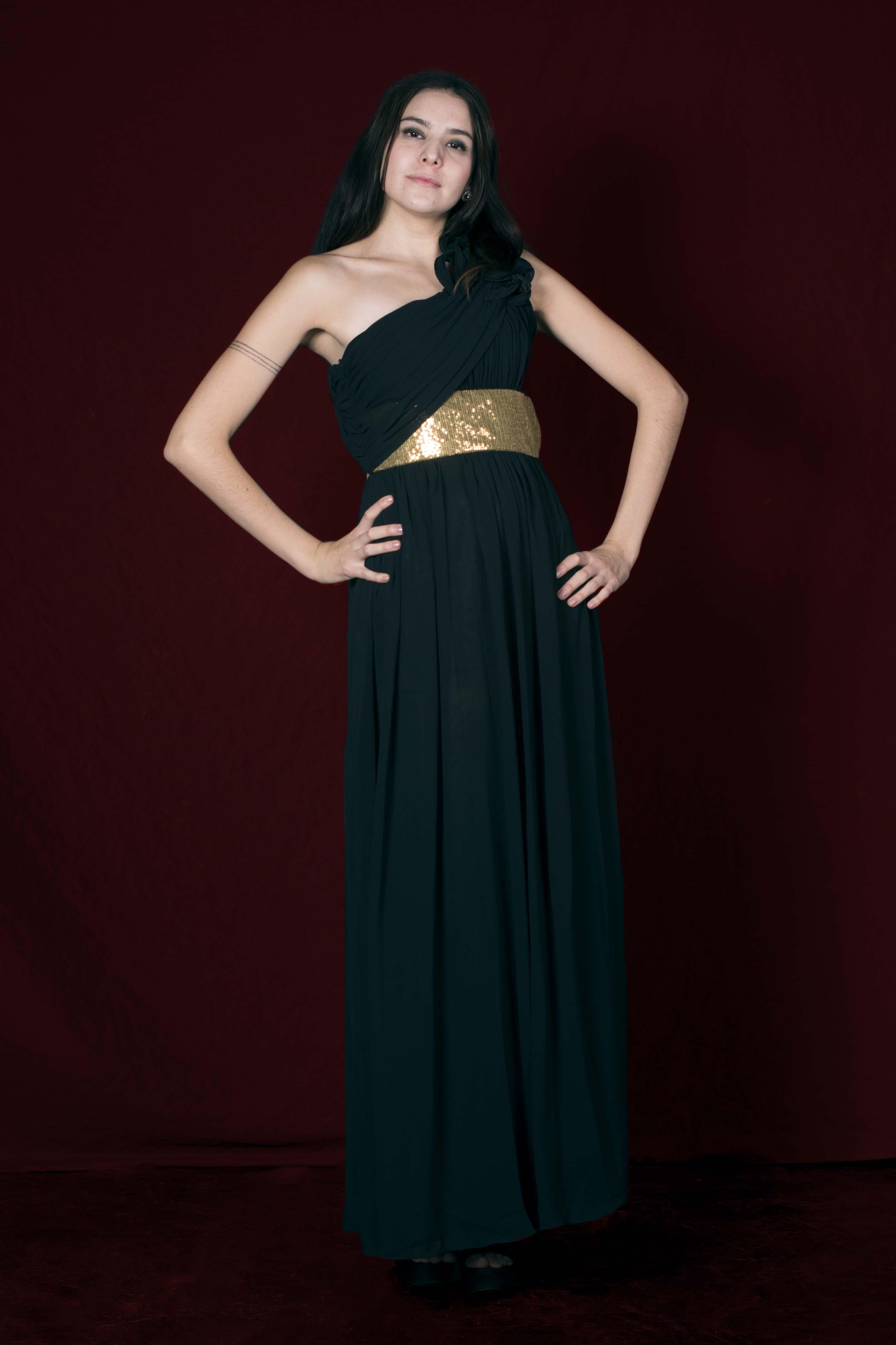 Vestido Athens con Cinturón Dorado