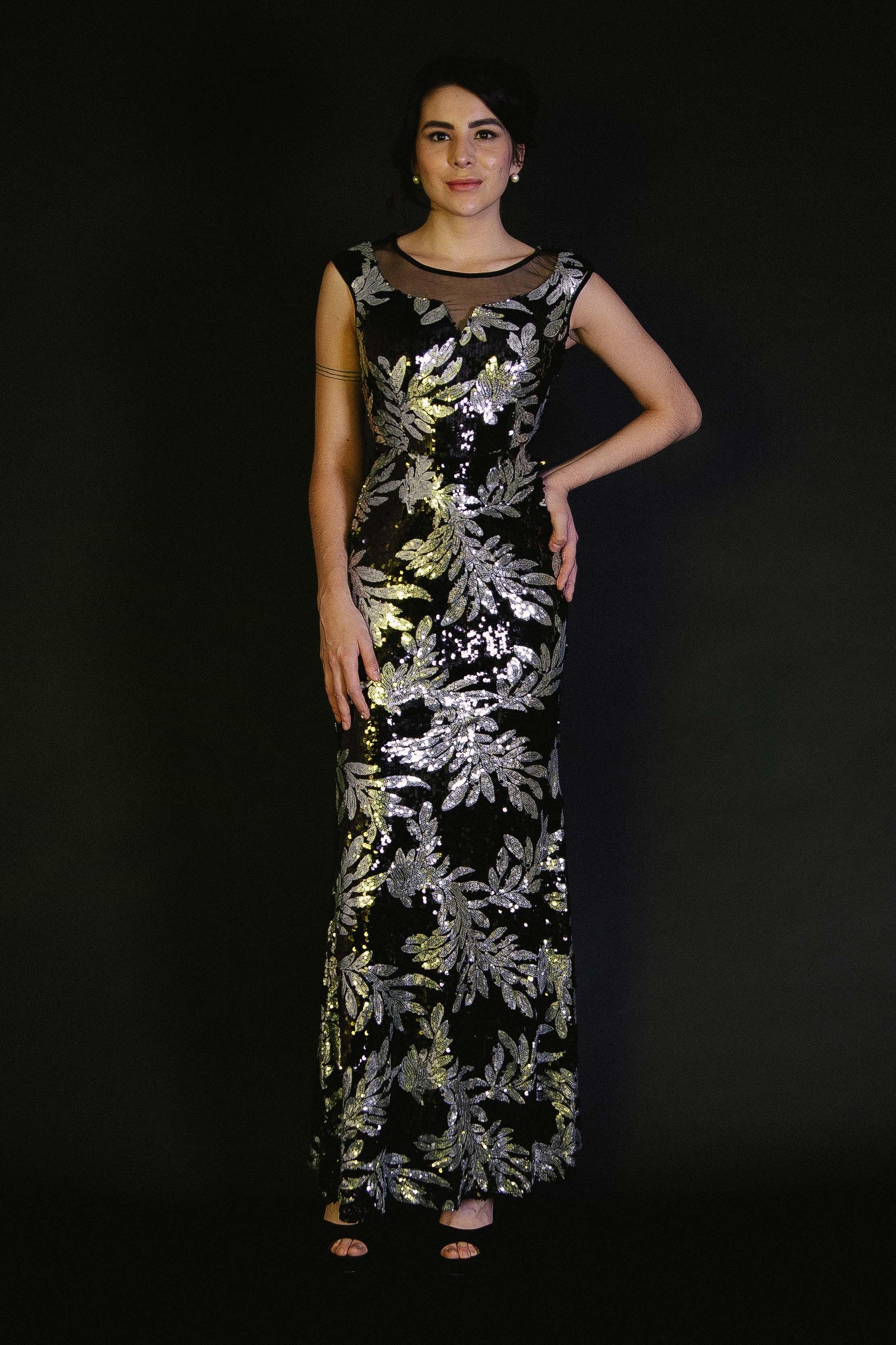 Vestido de Lentejuelas Hojas de Laurel