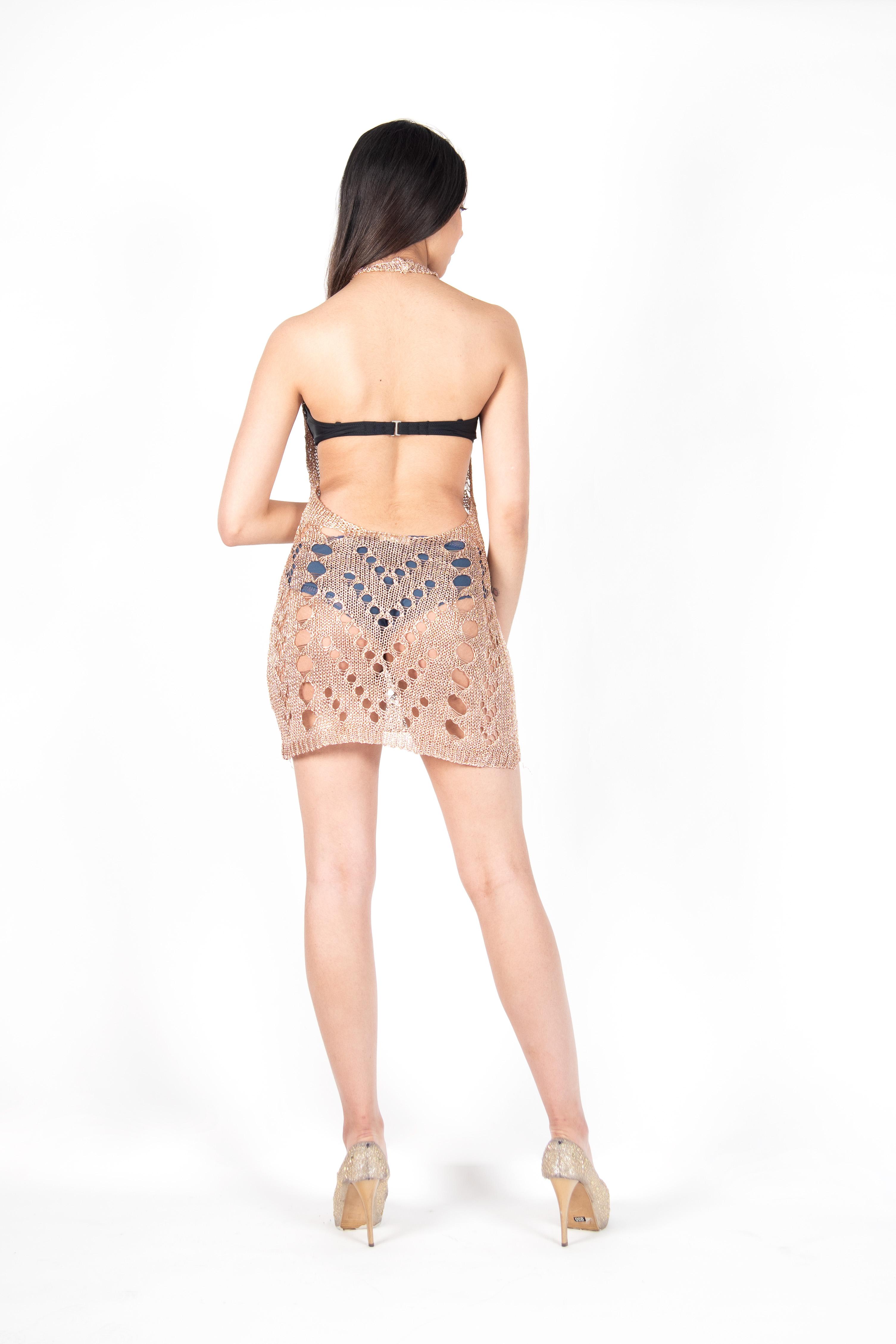 Vestido Mini Metalizada Espalda Descubierta