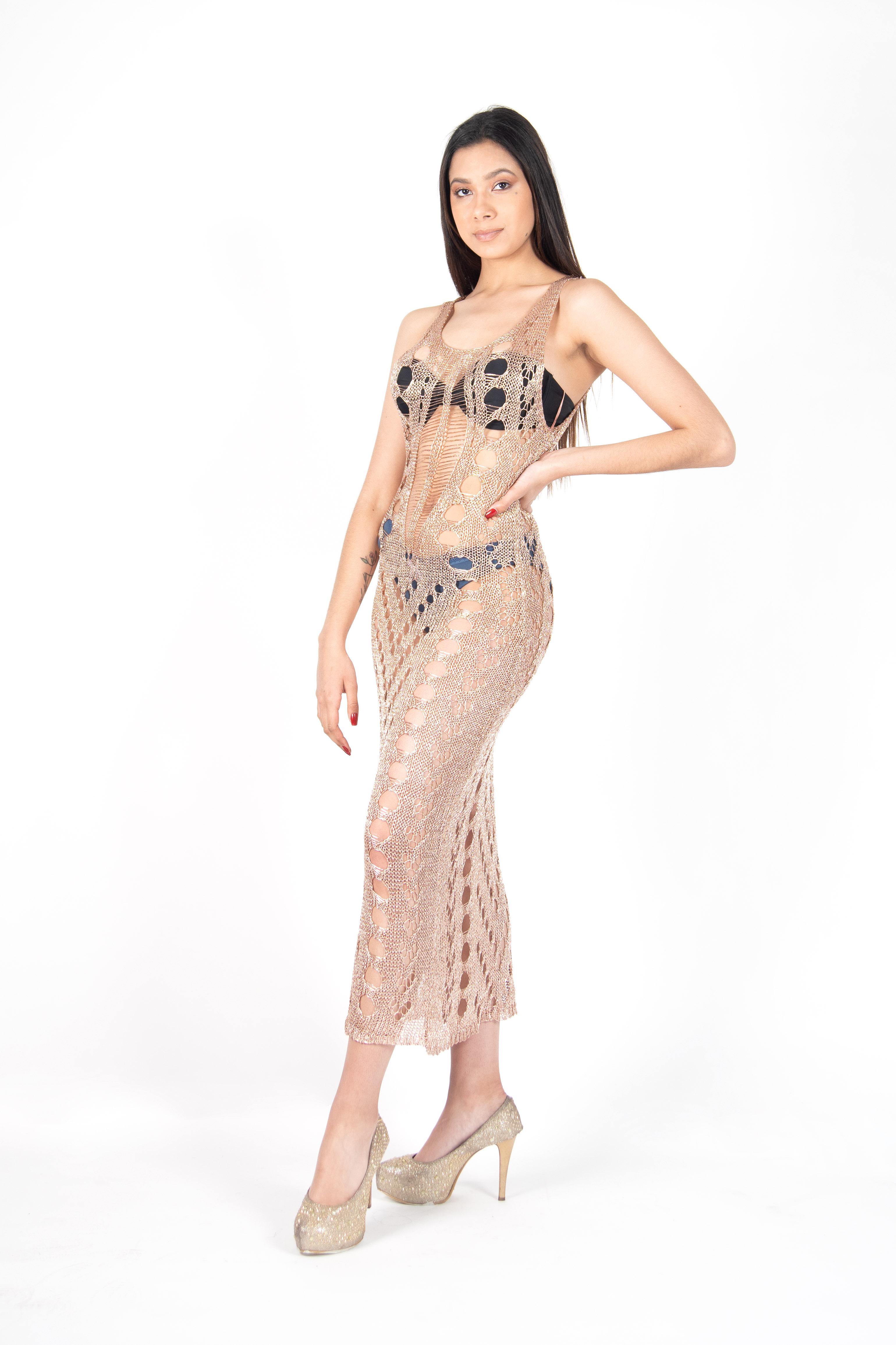 Vestido Metalizado Recto