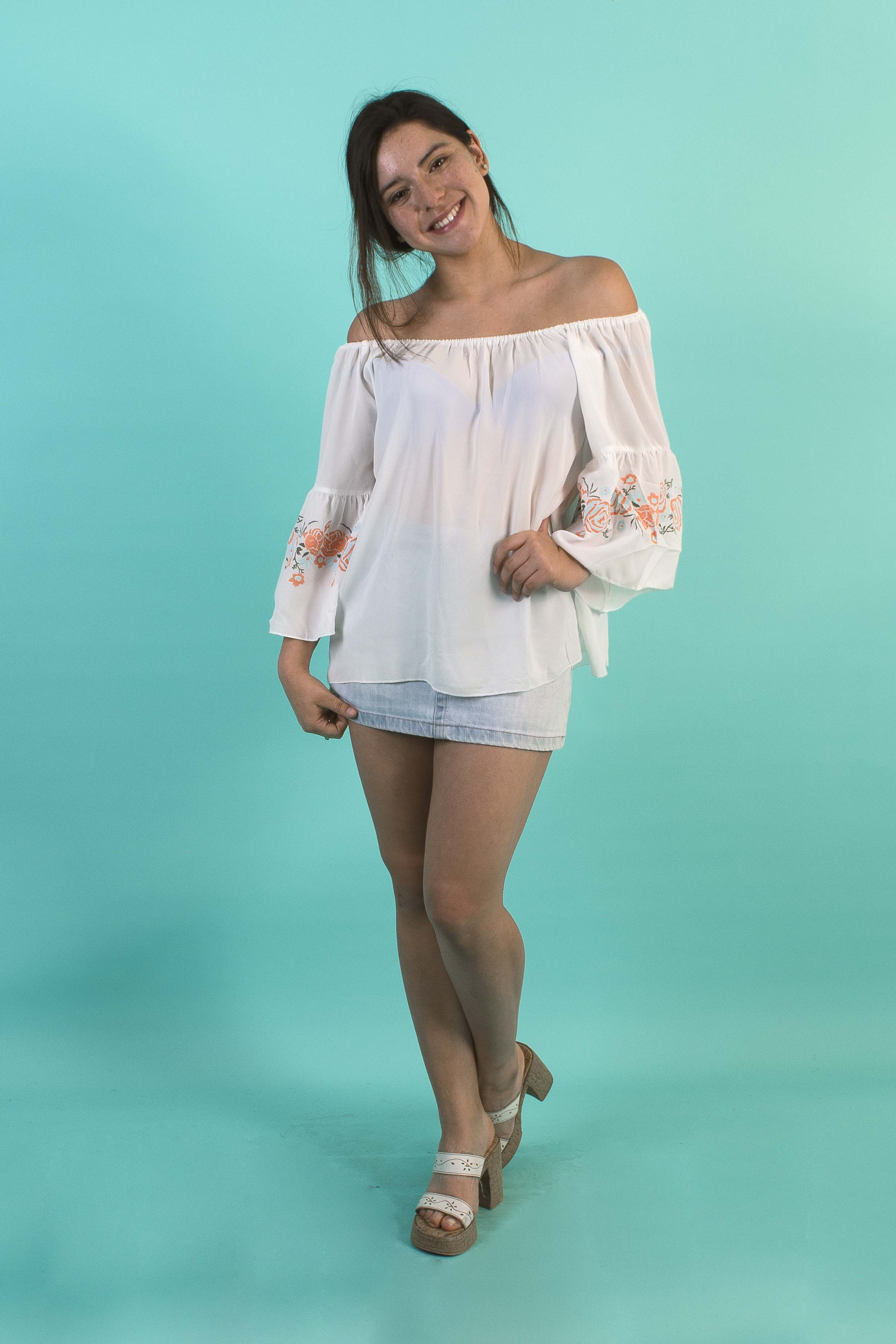 Blusa Strapless Mangas Anchas