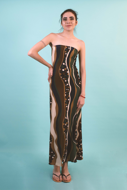 Vestido Largo Stripes Strapless