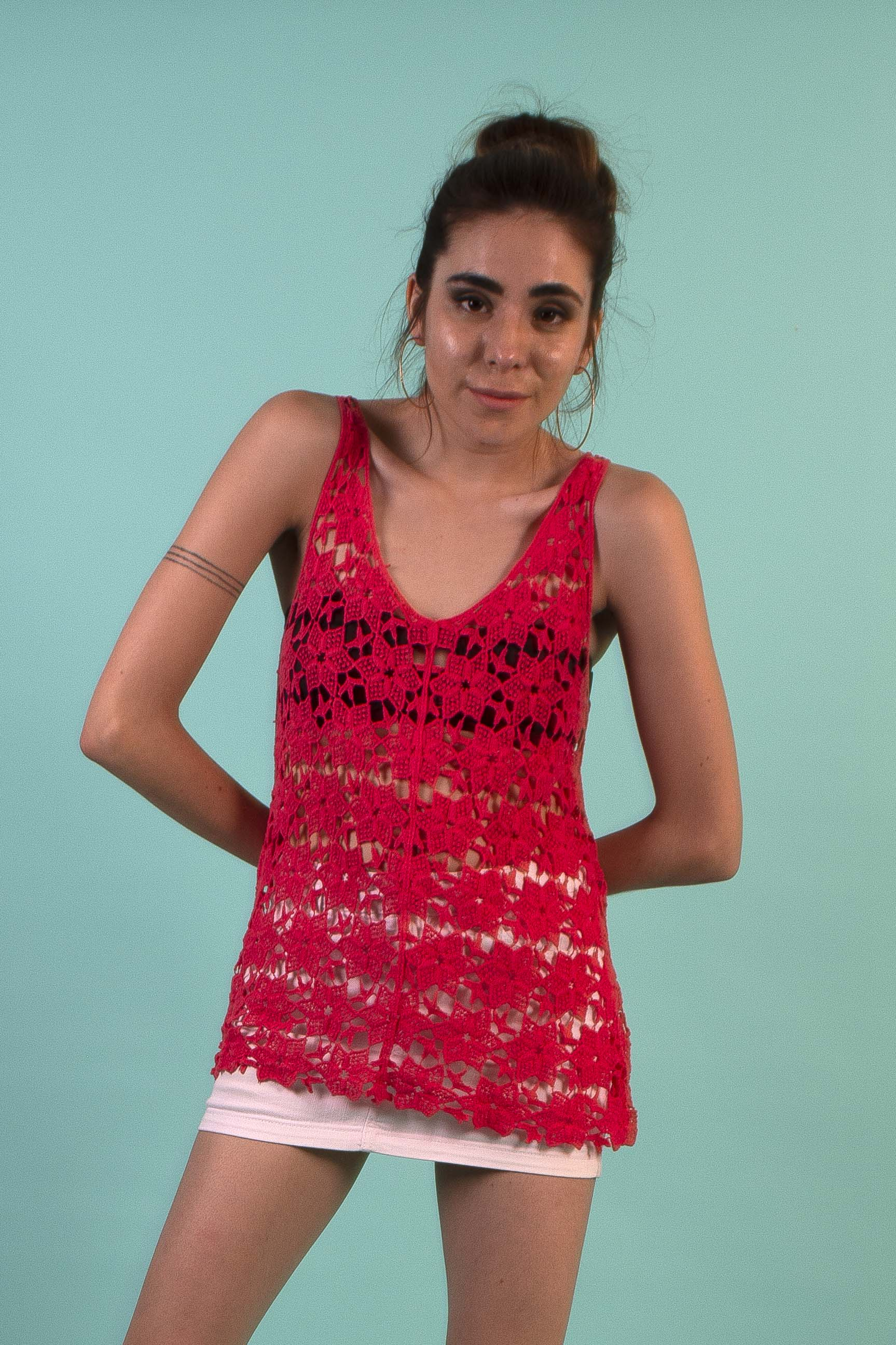 Top Tejido Crochet Largo