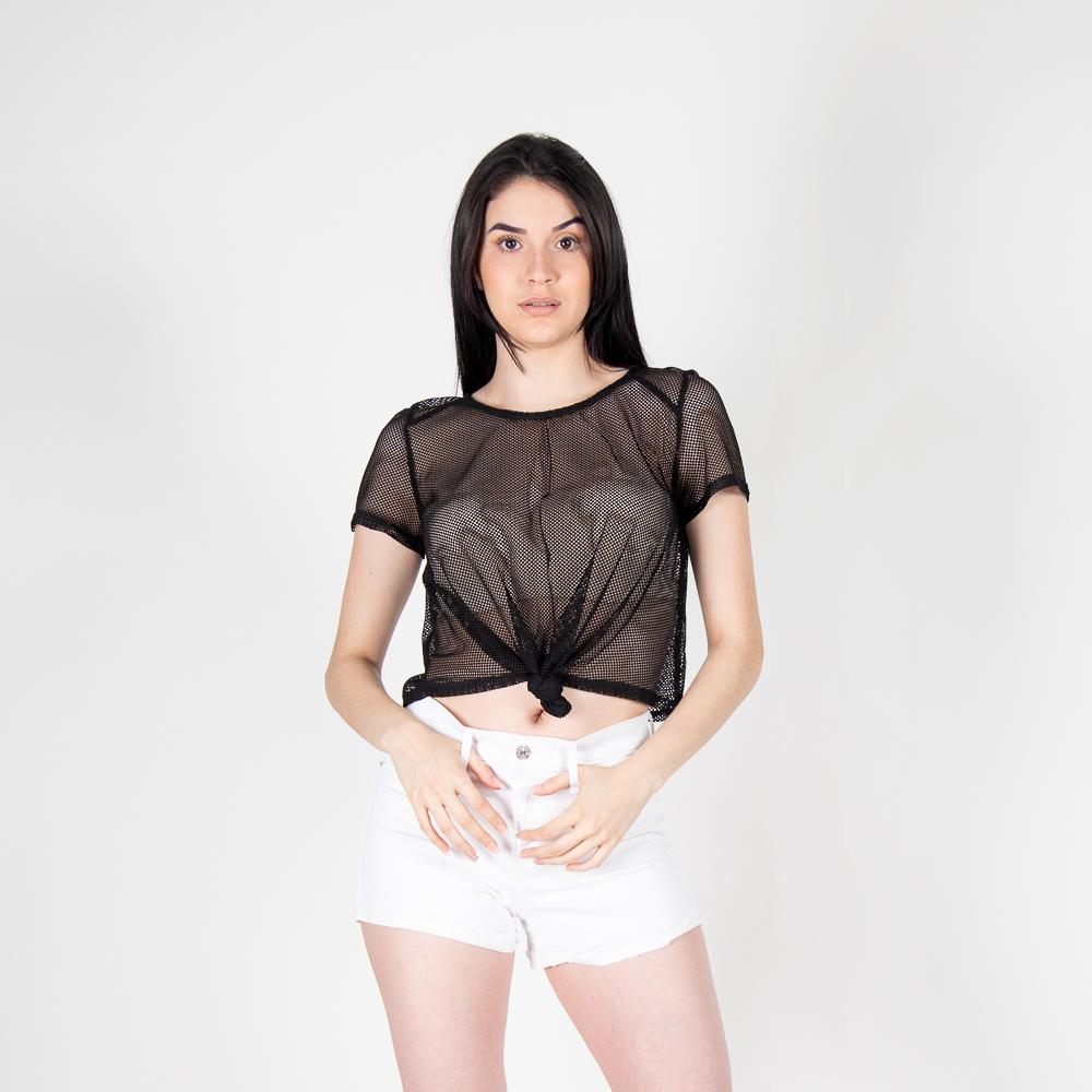 Crop Top Mesh Shirt