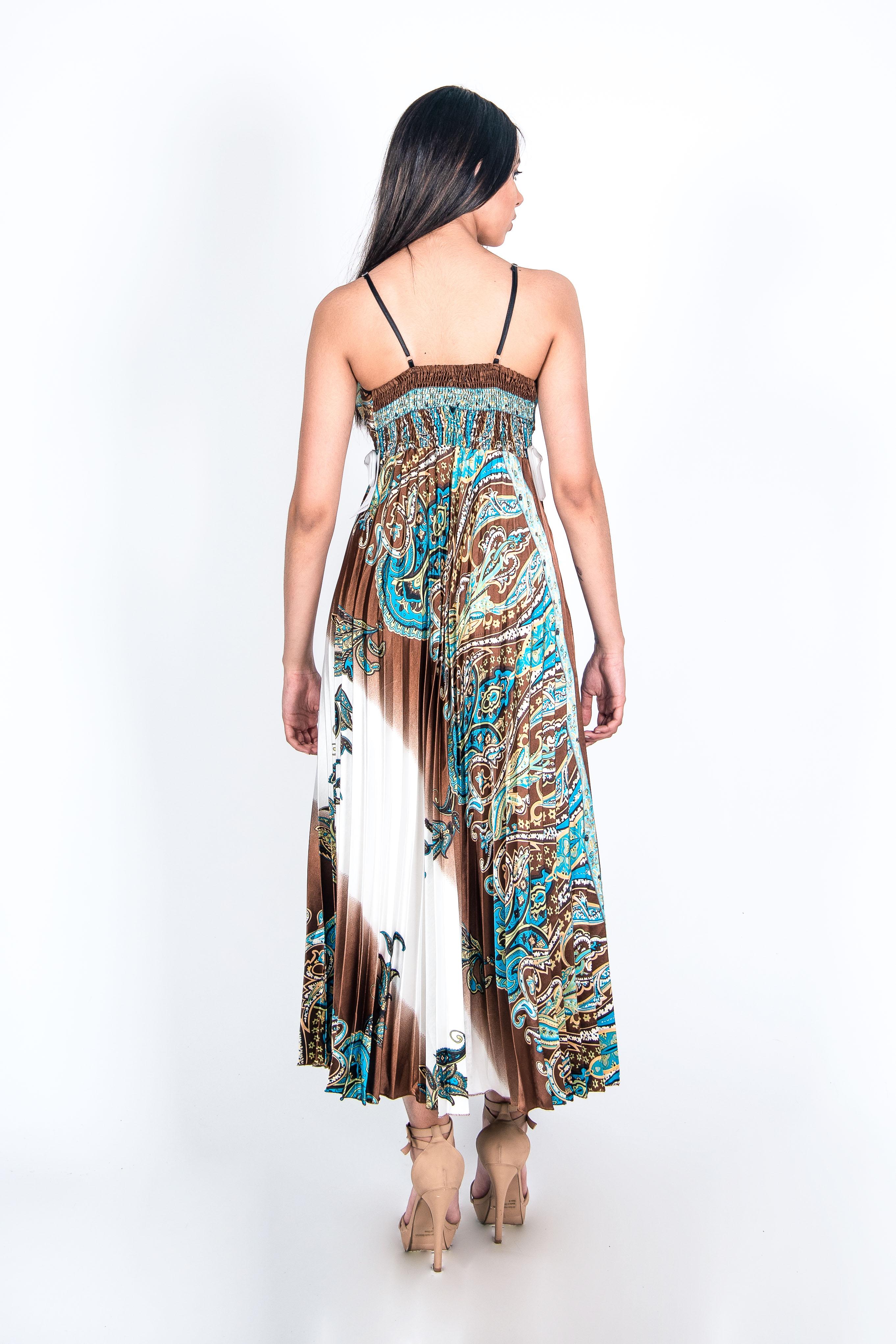 Vestido Plisado con Tiras