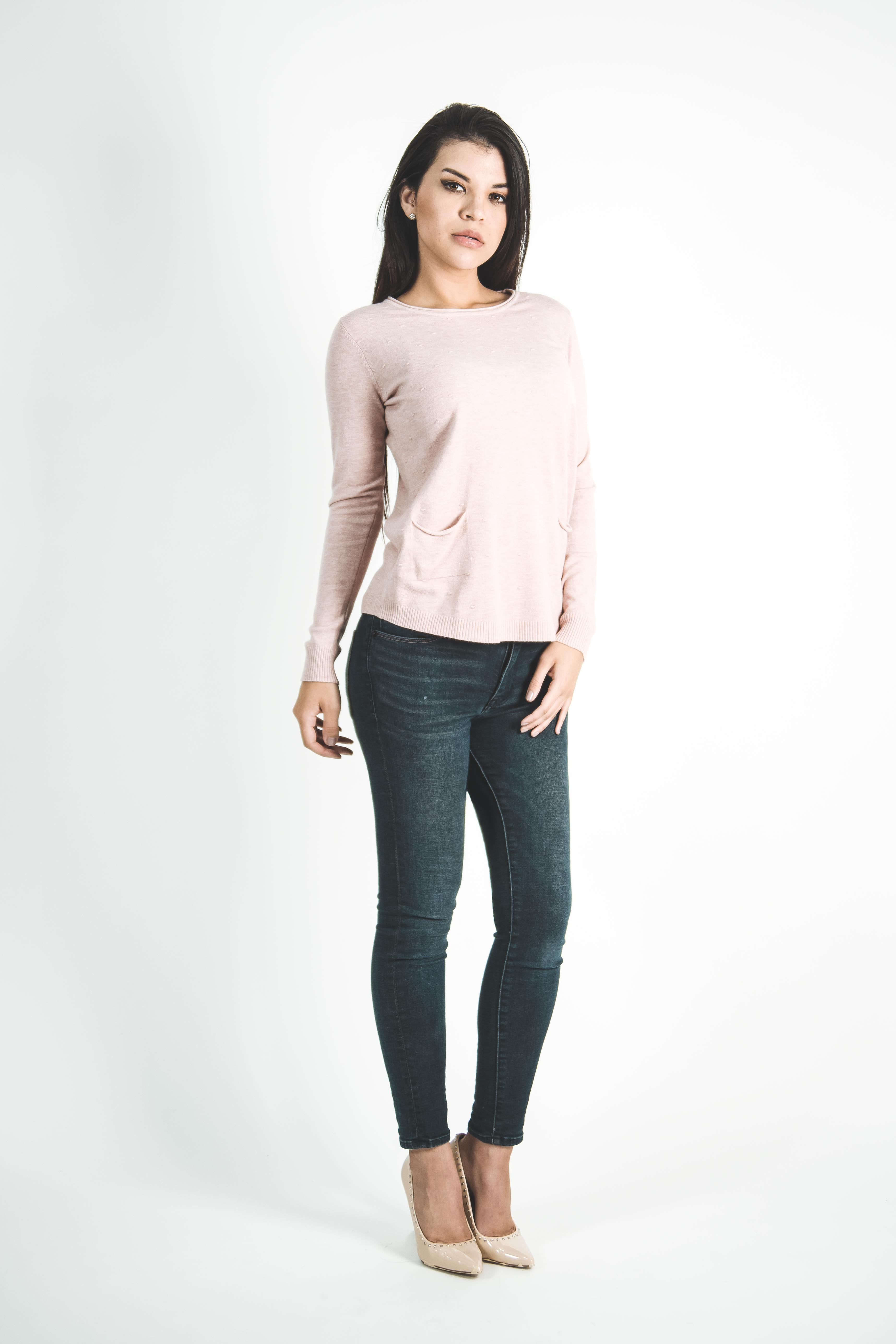 Sweater Delgado con Bolsillos