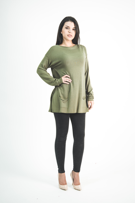 Sweater Holgado Con Bolsillos