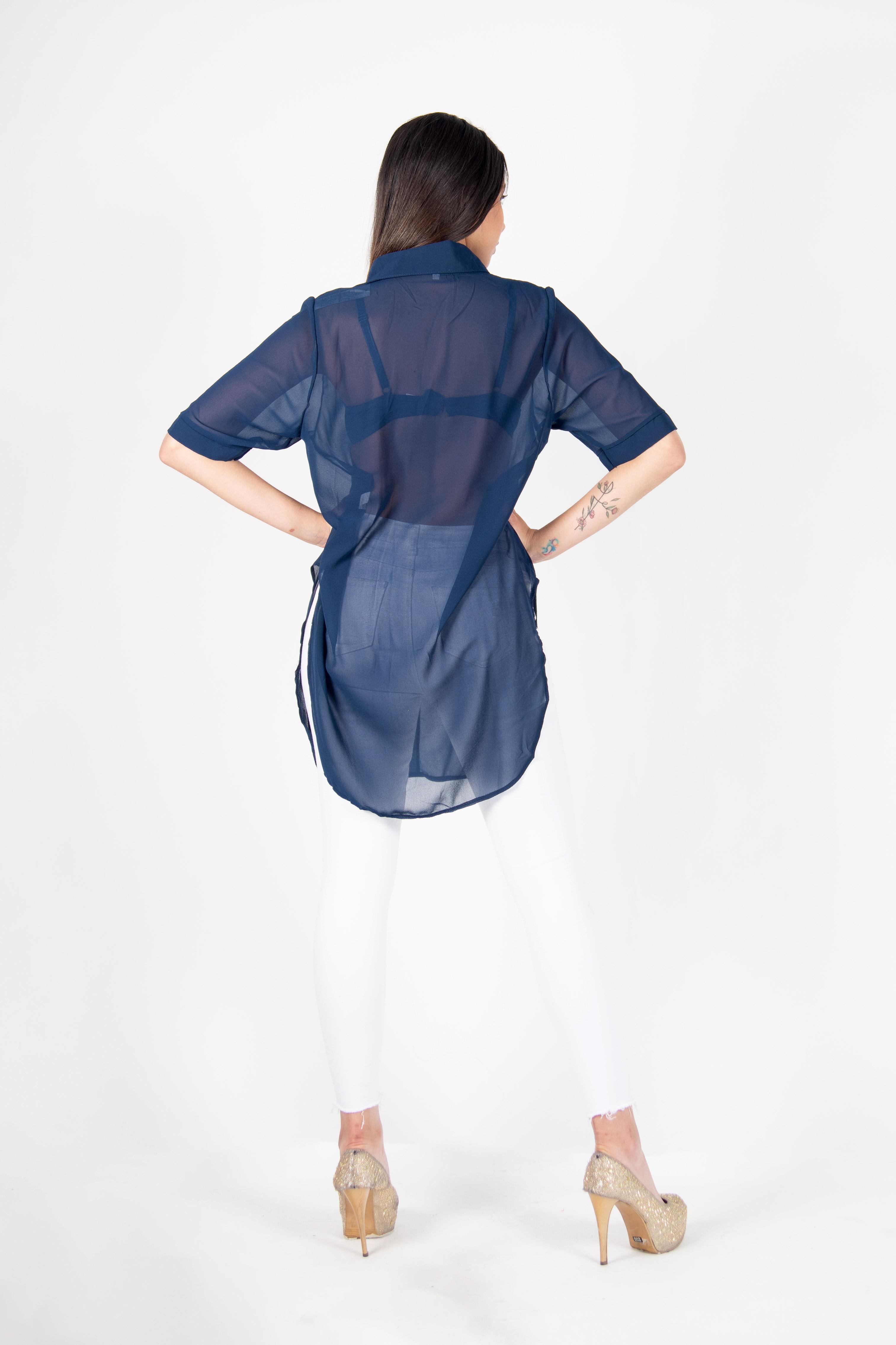 Camisa Transparente Corta