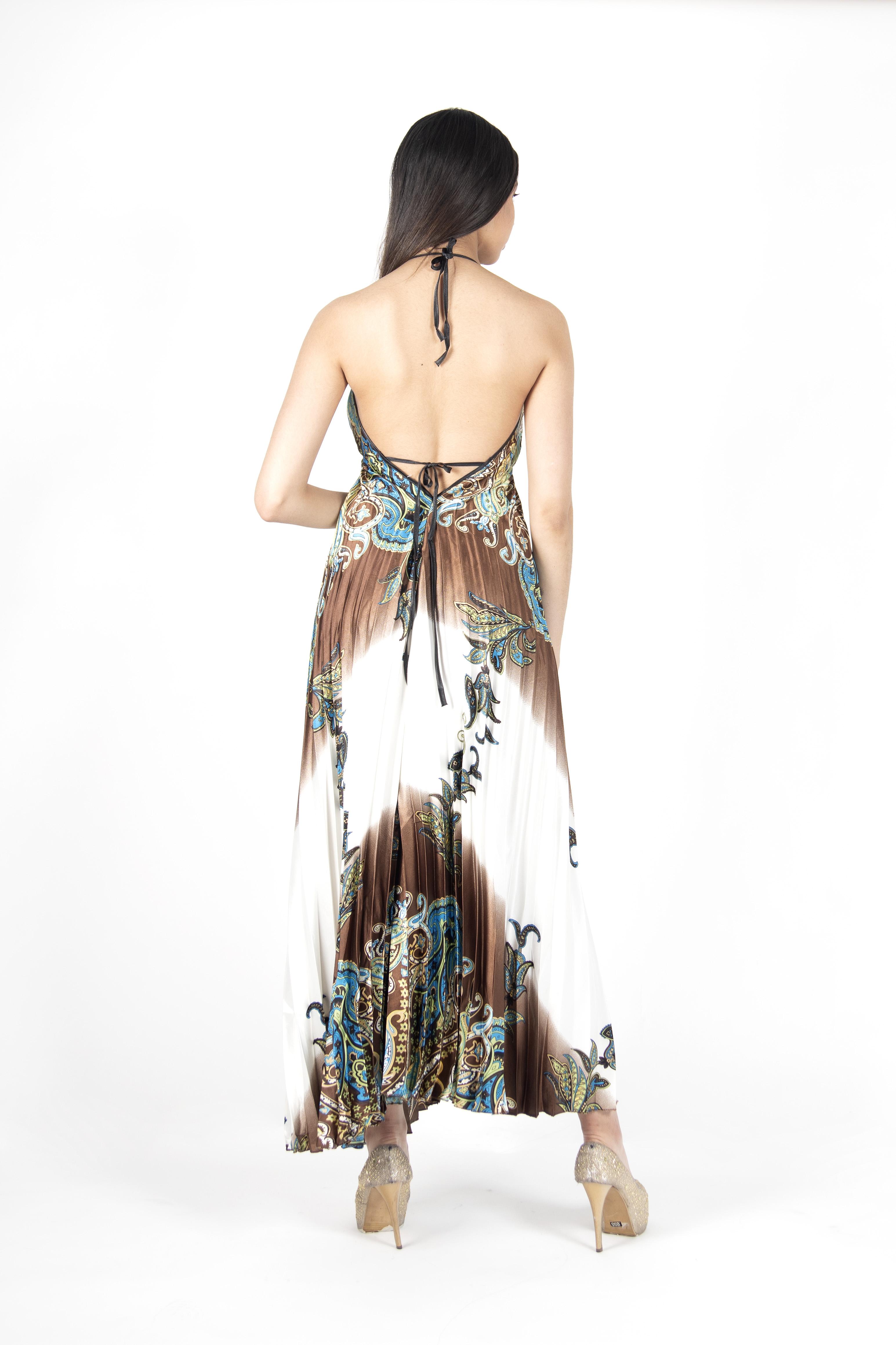 Vestido Plisado Espalda Descubierta