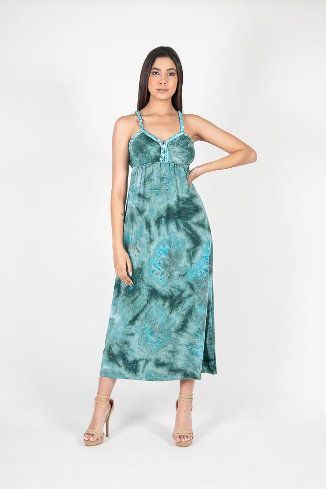 Vestido Midi Desteñido Trenza
