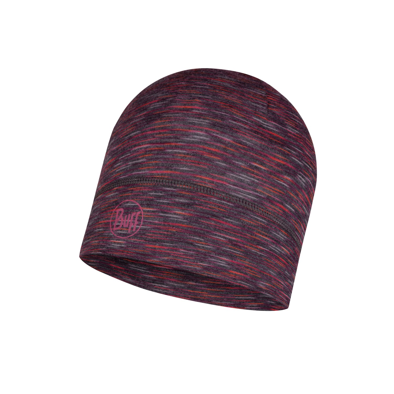 Lightweight Merino Wool Hat Shale Grey Multi Stripes