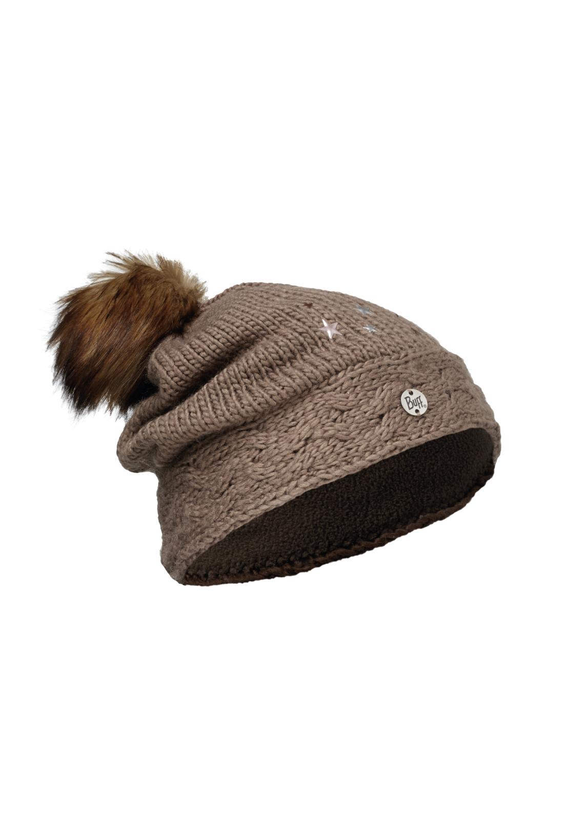 Junior Knitted & Polar Hat Darsy Brown Primaloft