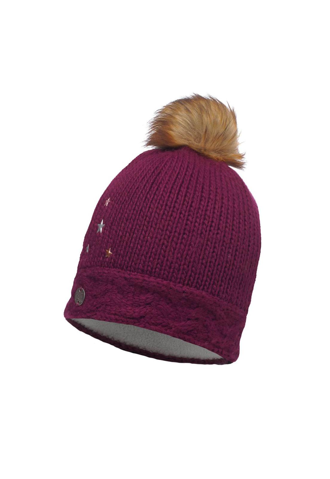 Junior Knitted & Polar Hat Darsy Amaranth Purple Primaloft