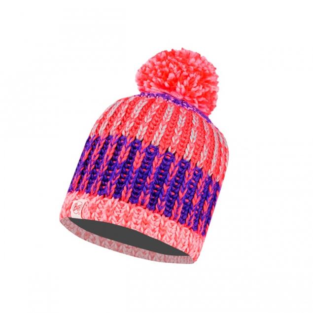 Knitted & Polar Hat Child Twist Blossom Red / Grey Vigoré Primaloft