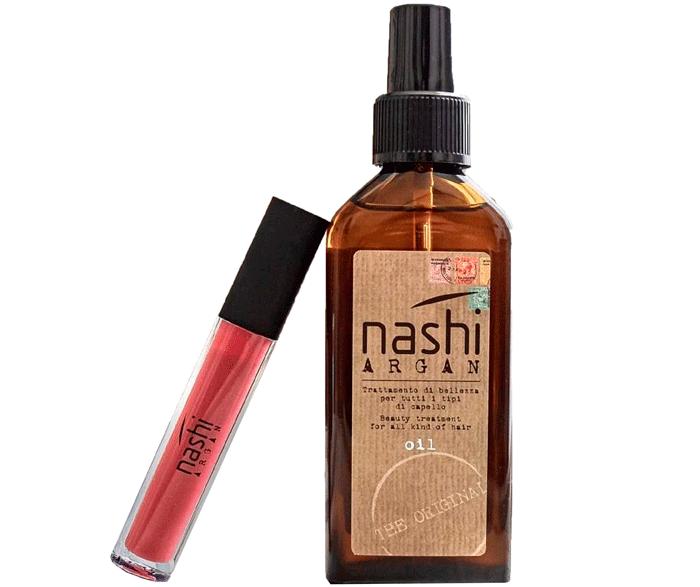 Set Aceite Argan 100ml+ Lip Gloss Nashi