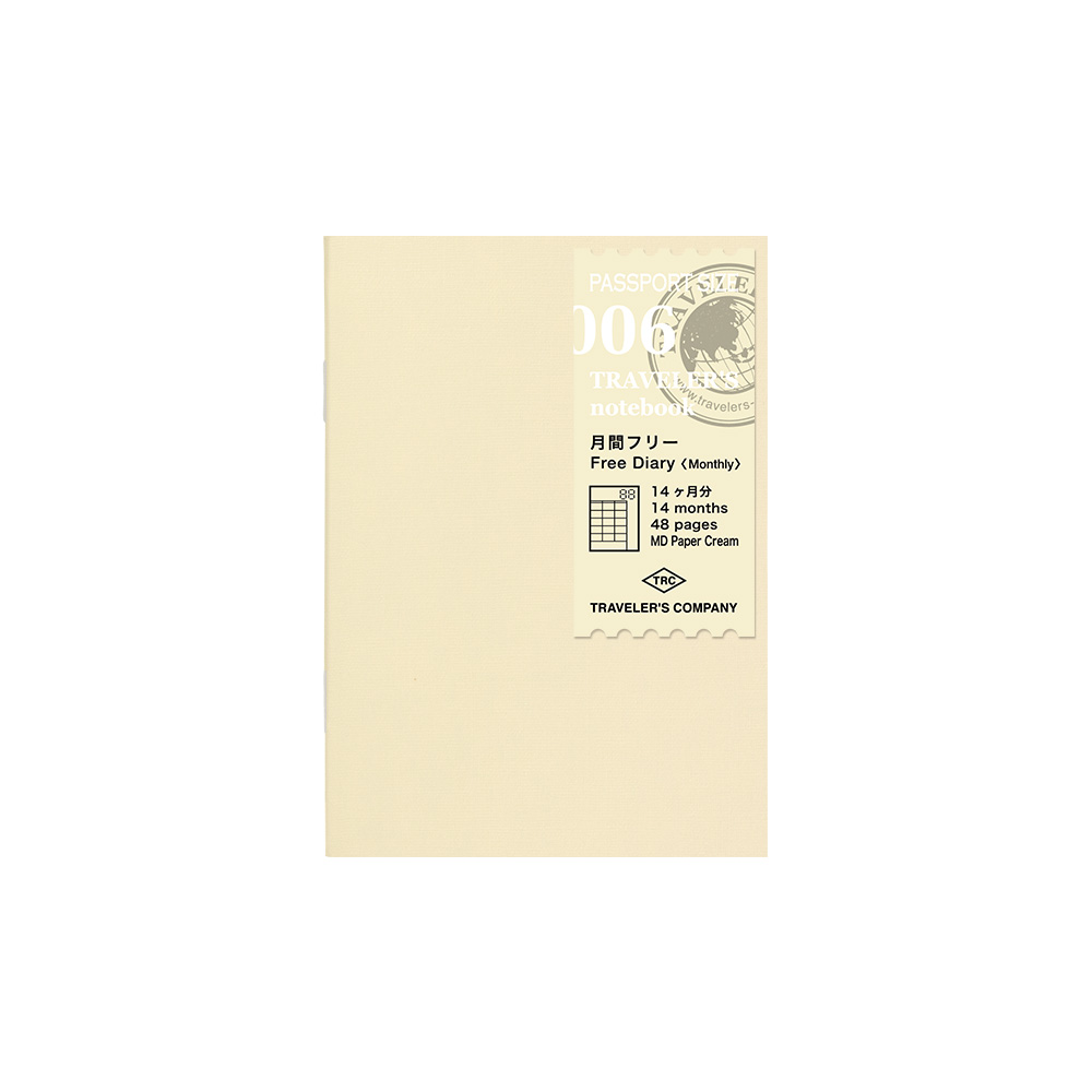 TRAVELER'S notebook Refill Free Diary Monthly 006 Passport