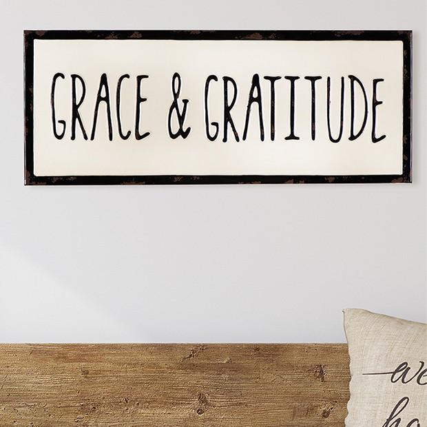 Letrero esmaltado 'Grace & Gratitude'
