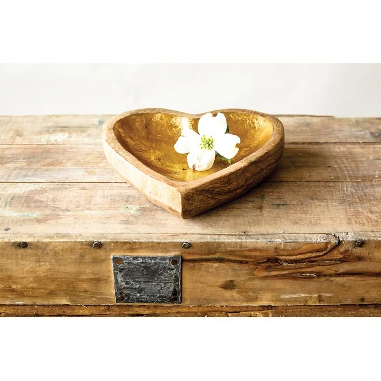 Plato madera corazón dorado