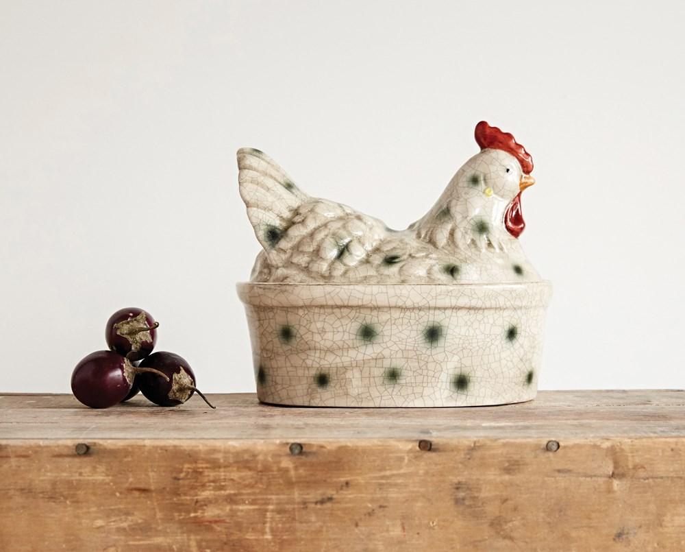 Contenedor gallina cerámica