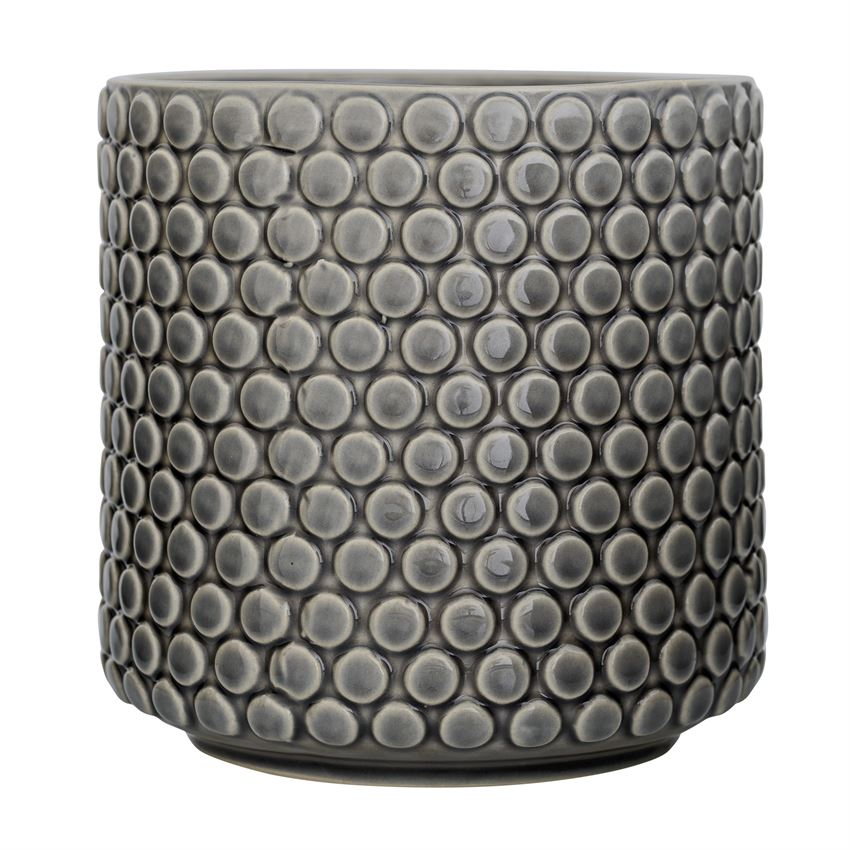 Macetero polka dots gris