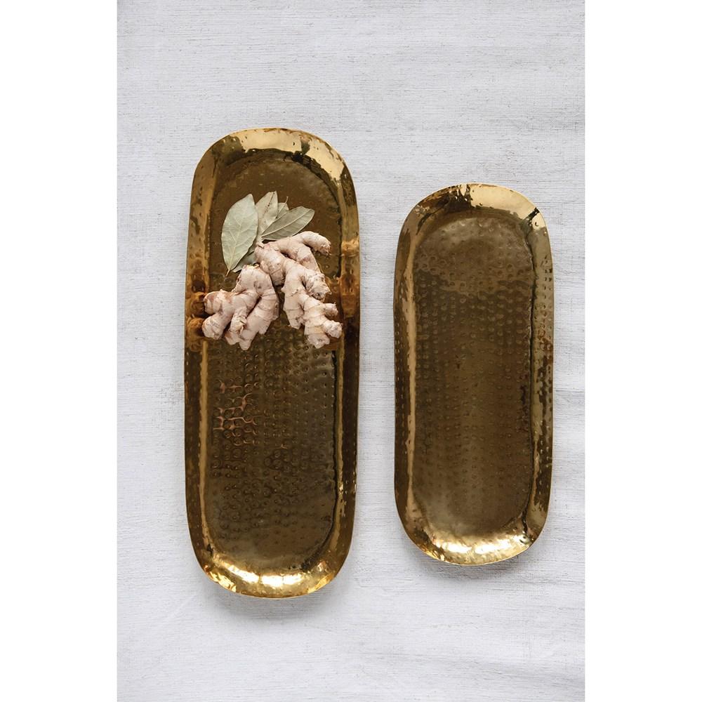 Set bandejas doradas martilladas