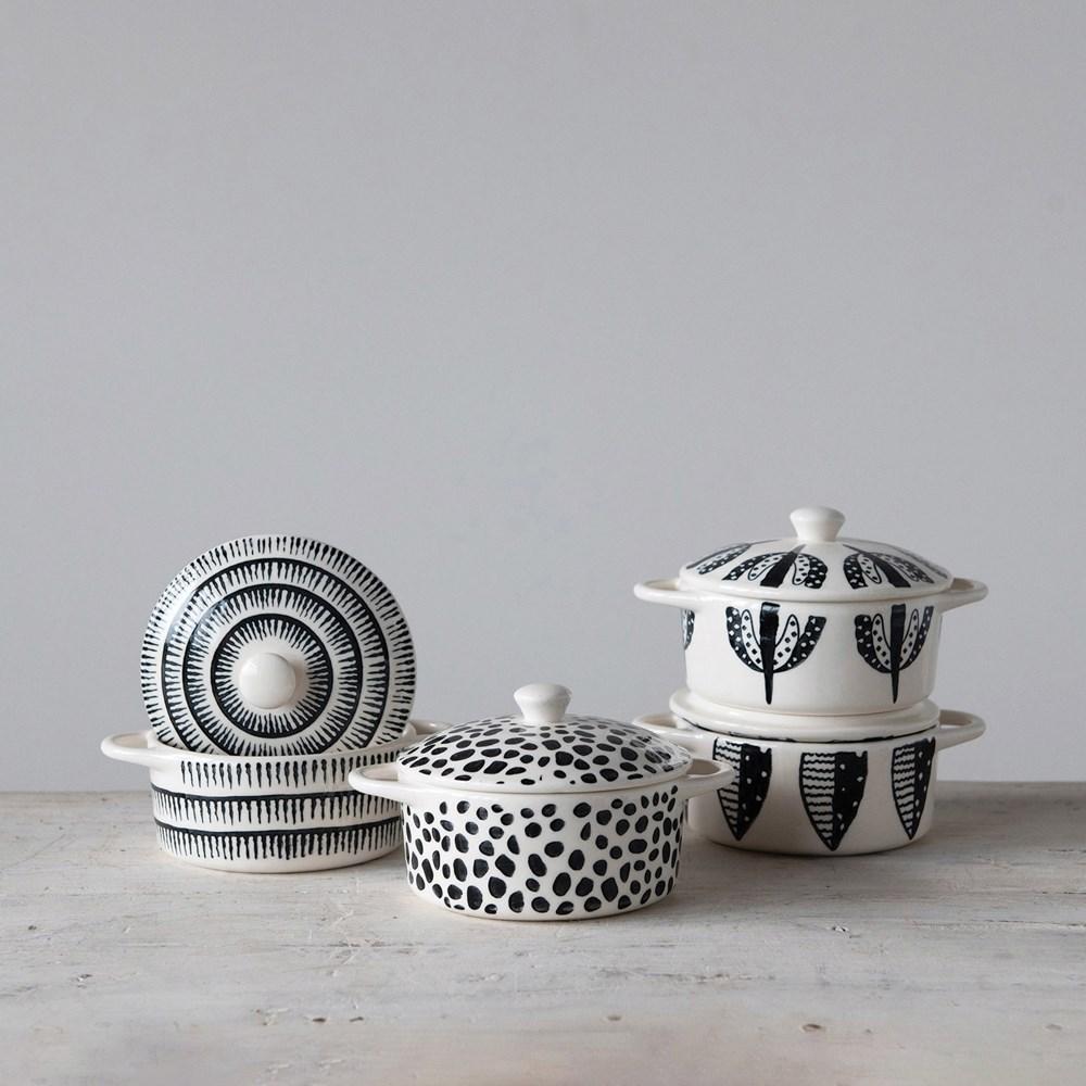 Ollas cerámica blanco negro