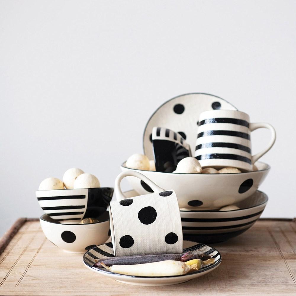 Platos pan cerámica blanco negro
