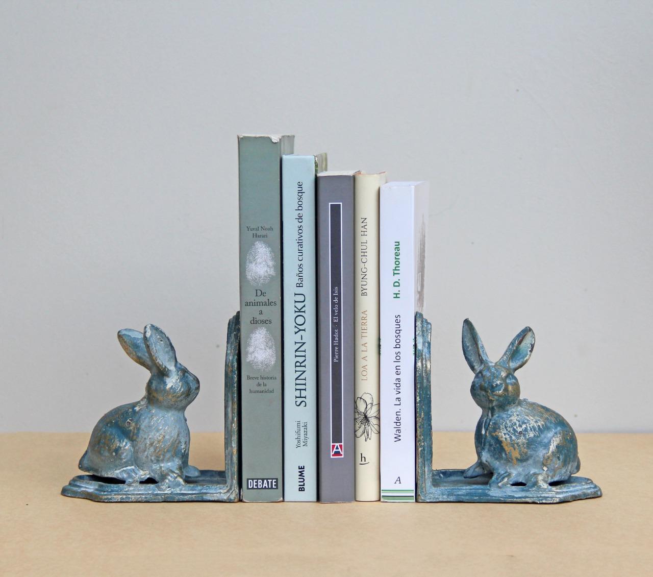 Sujeta libros conejo fierro