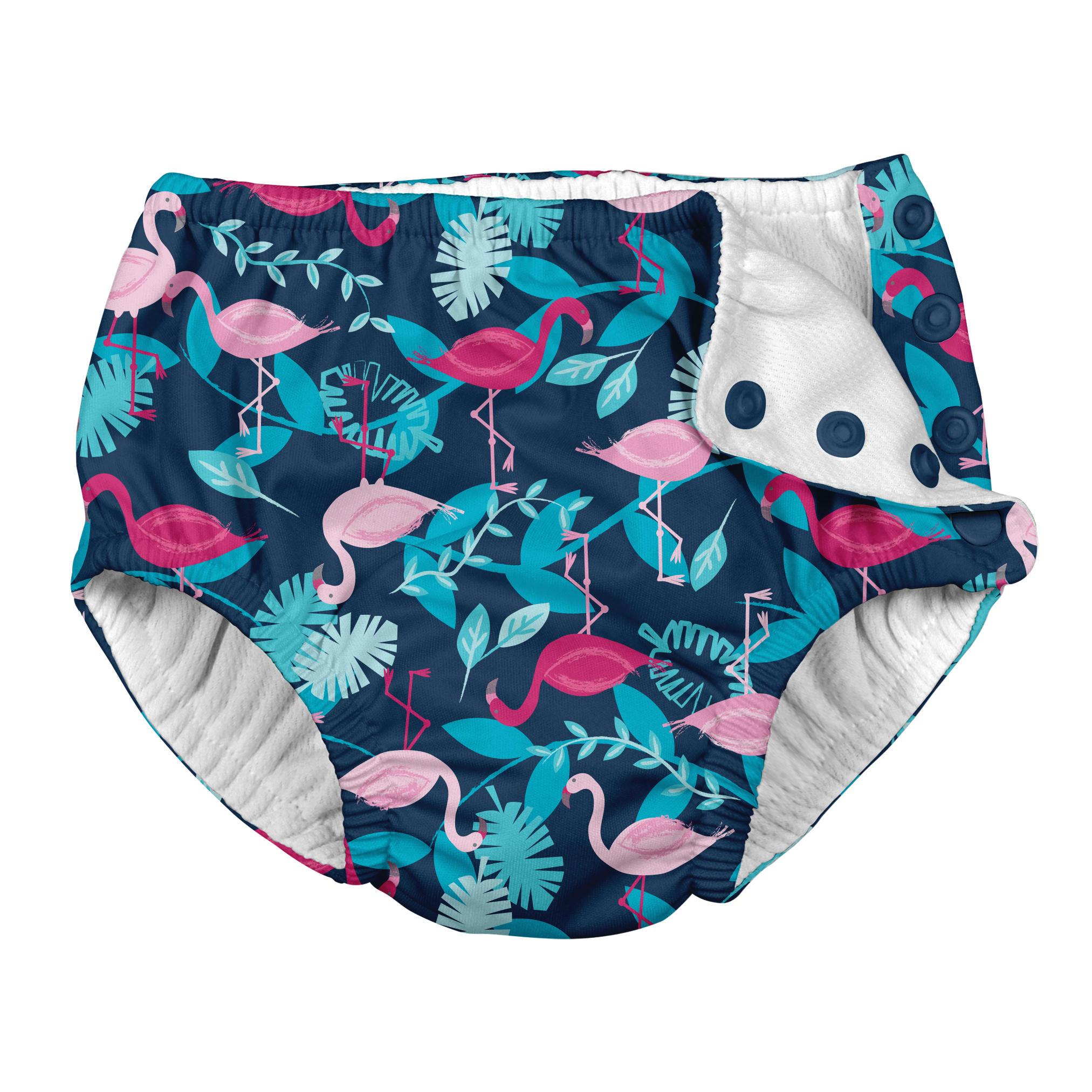 Traje De Baño Con Pañal Zunga Azul Flamingos Iplay