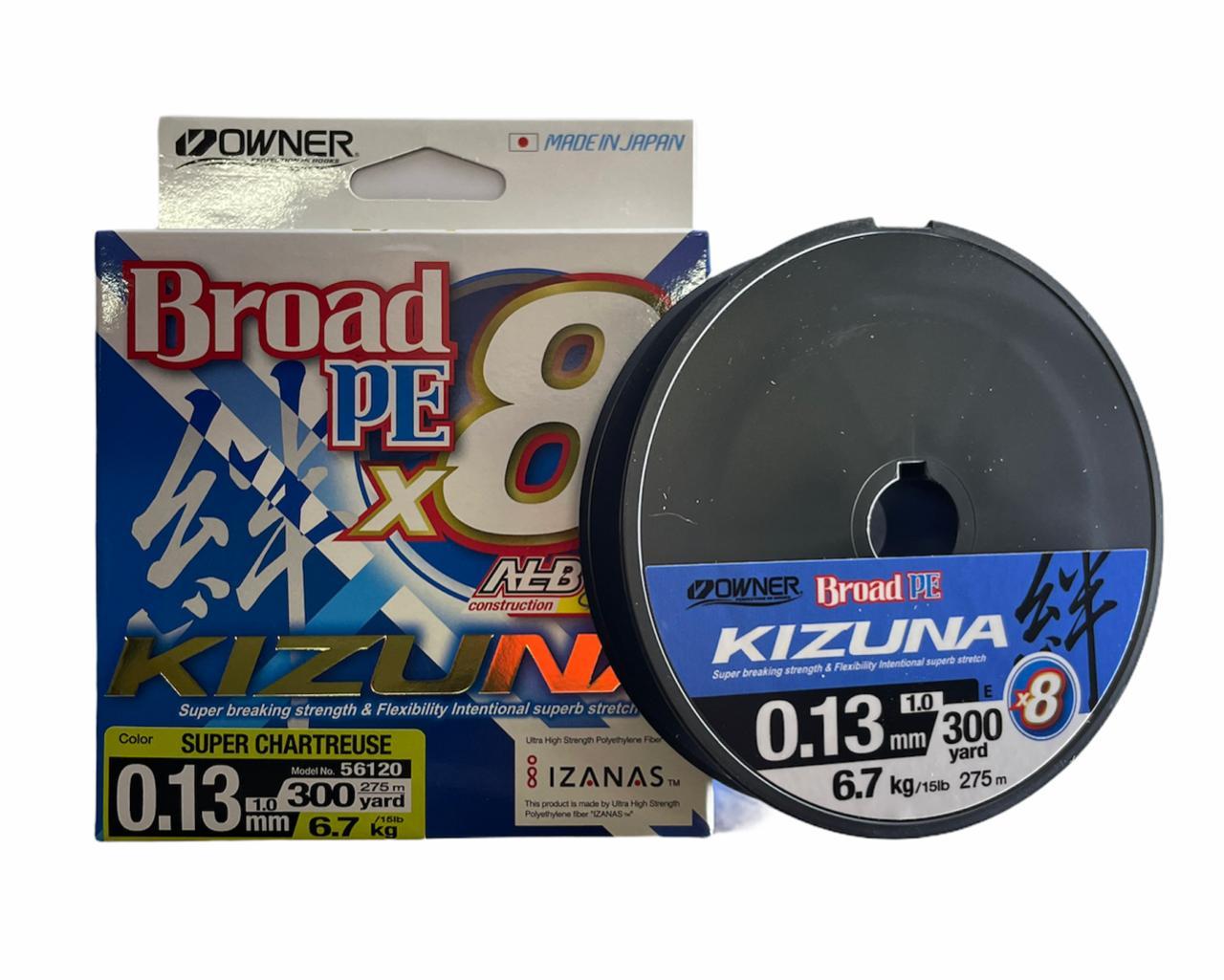 Owner kizuna Broad PE X8 0.13  6.3kg 275m (amarillo)