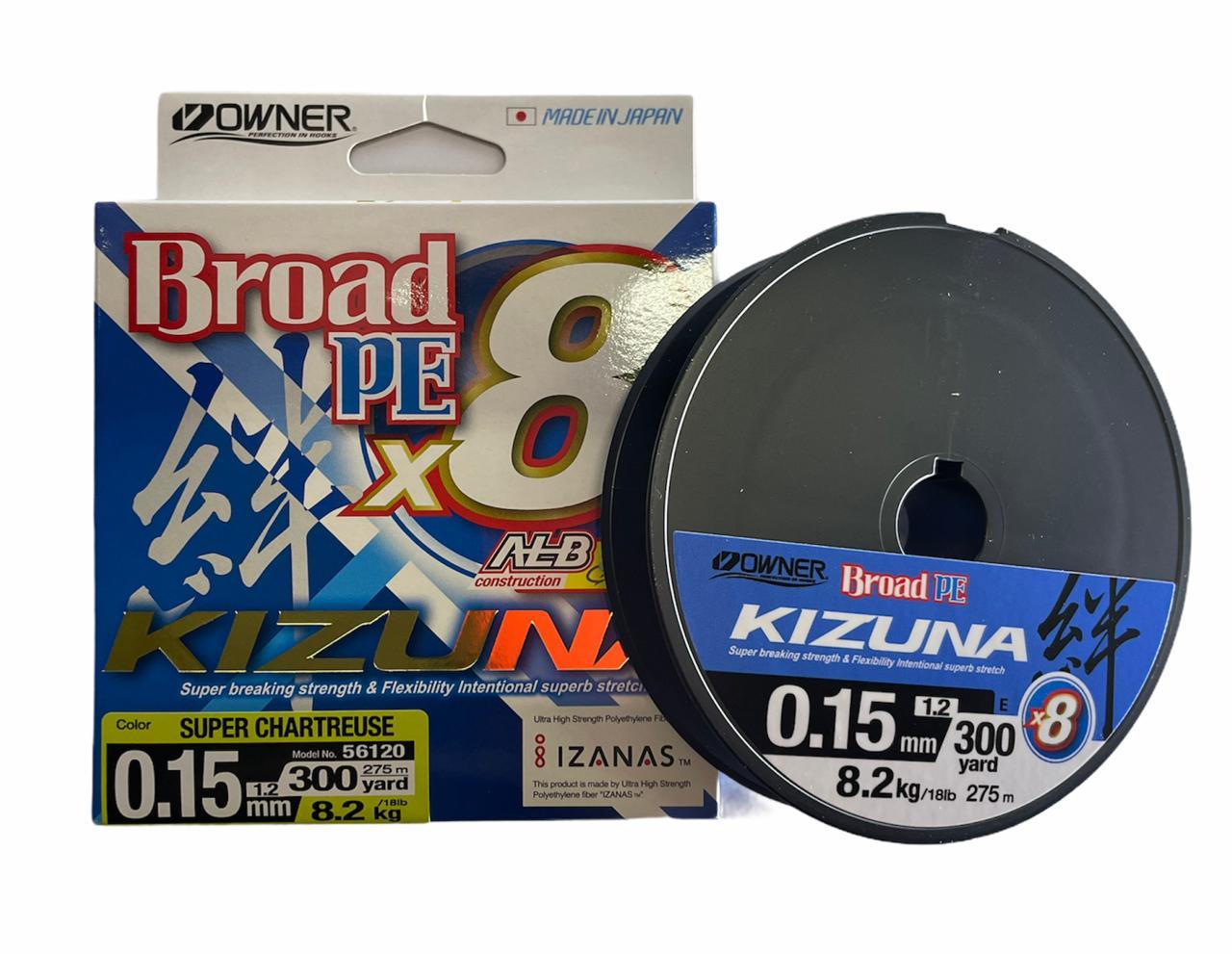 Owner kizuna Broad PE X8 0.15 8.2kg 275m (amarillo)