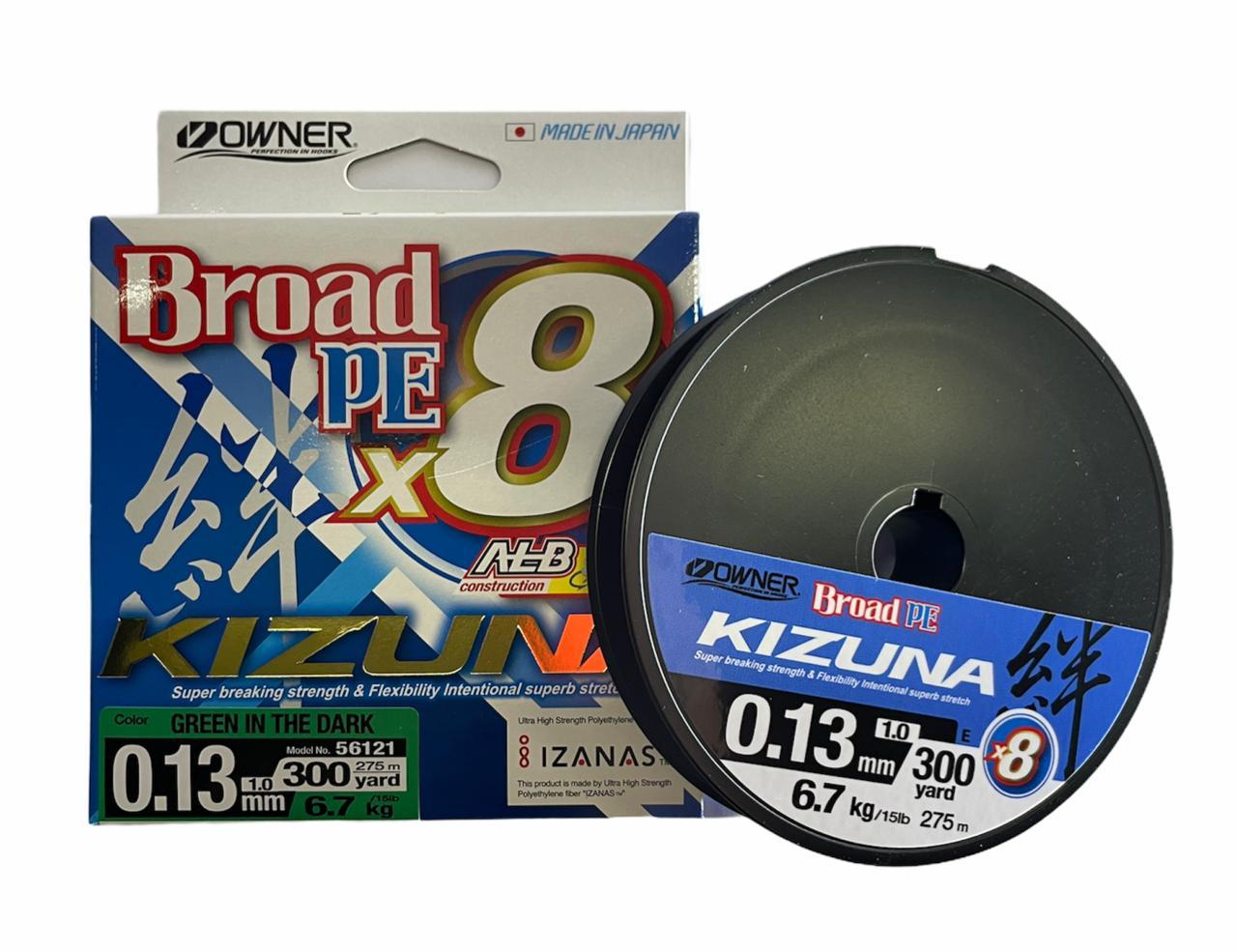 Owner kizuna Broad PE X8 0.13 6.7kg 275m (verde oscuro)
