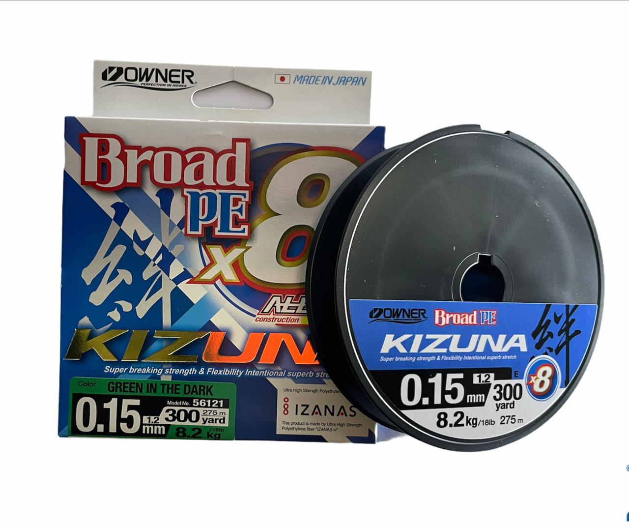 Owner kizuna Broad PE X8 0.15 8.2kg 275m (verde oscuro)