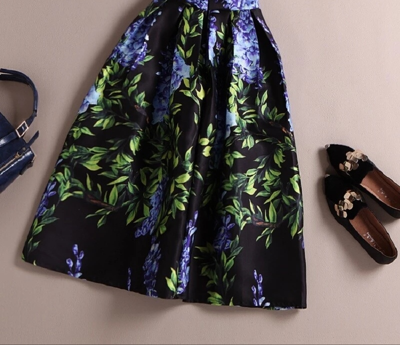 Bamboo Leaves Midi Skirt