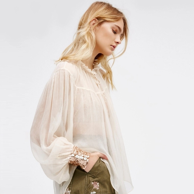 C through Sequined Sleeve Top