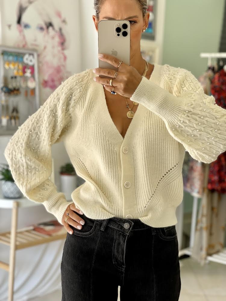Pearly Beige Cardigan