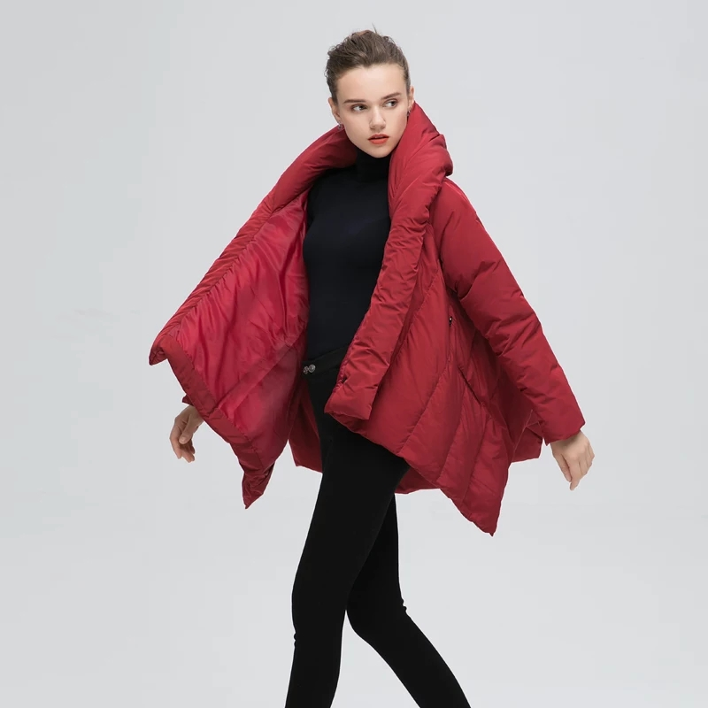Wine Red Wrap Down Coat