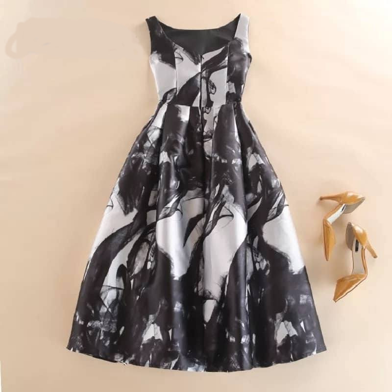 Black Ink Midi Dress