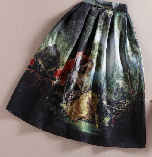 Oil Paint Theme Midi Skirt