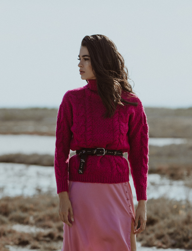 Fuchsia Braids Sweater
